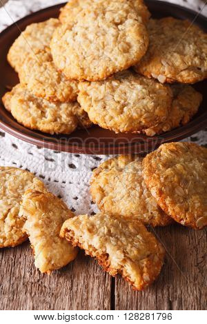 Australian Anzac Biscuits Close Up On A Plate. Vertical