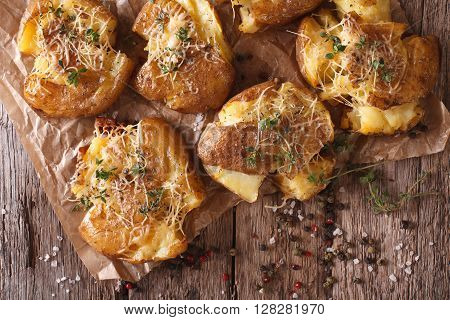 Tasty Hot Baked New Potato With Thyme Close-up. Horizontal Top View