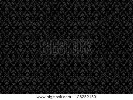 Black casino gambling poker background or dark  damask pattern and cards symbols