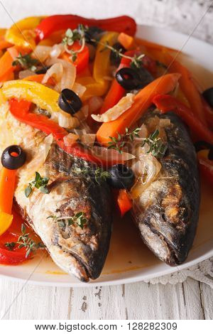 Spanish Cuisine: Escabeche Of Mackerel Closeup. Vertical