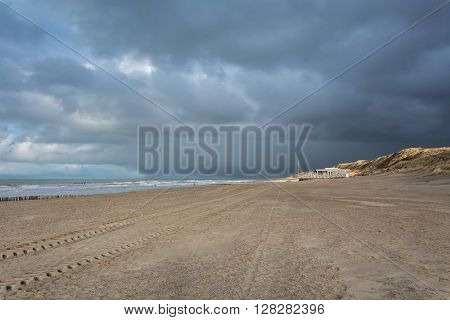 Beautiful clouds on the sea during a storm.