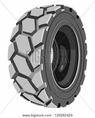 Grey lorry wheel. Trucks grey tire. Transport's tire.
