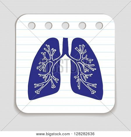 Doodle Lungs icon. Infographic symbol hand drawn with pen. Scribble style graphic design element. Web button. Medical symbol on a notepad page with lines.