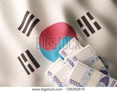 Korean won banknotes on textile textured South Korea flag. 3d rendering.