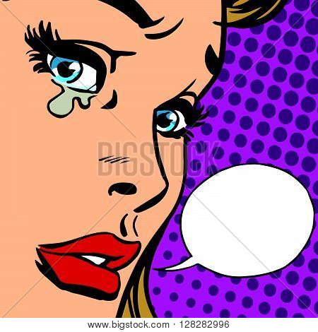 crying girl close-up face vector retro pop art. Crying emotions a woman. Sad news