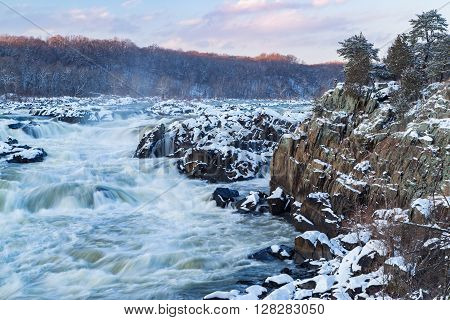 The Potomac River tumbles down a series of cascades through a mile long gorge near Washington DC.