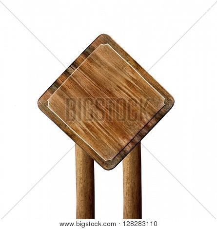 Wooden signboard against white background