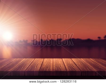 3D render of a wooden table with a defocussed tropical island