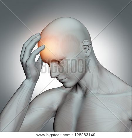 3D male medical figure holding head in pain