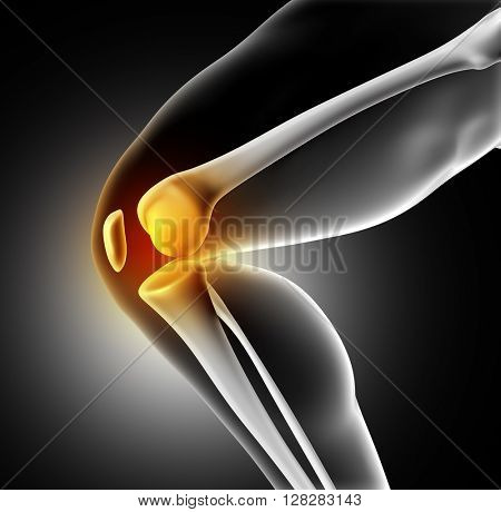 3D render of a medical image of close up of knee joint