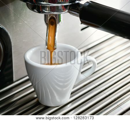 Espresso Machine Making A Cup Of Coffee.