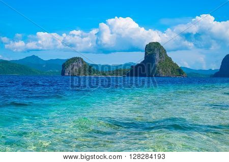 Scenic view of tropical sea bay and mountain islands, El, Nido, Palawan, Philippines