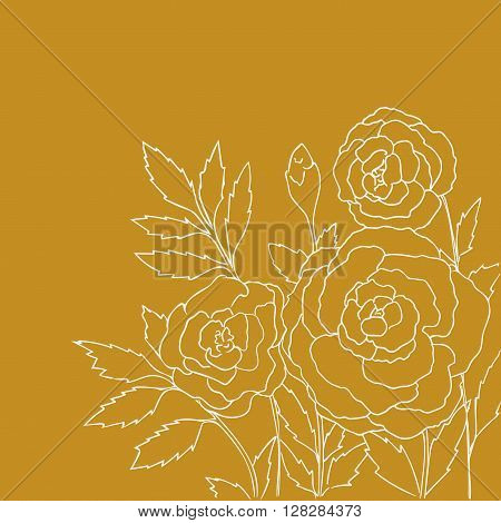 Beautiful roses isolated on yellow background. Hand drawn vector illustration with flowers. Romantic retro floral card. Romantic delicate bouquet. Element for design. Contour lines and strokes.