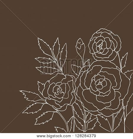 Beautiful roses isolated on dark beige background. Hand drawn vector illustration with flowers. Brown retro floral card. Romantic delicate bouquet. Element for design. Contour lines and strokes.