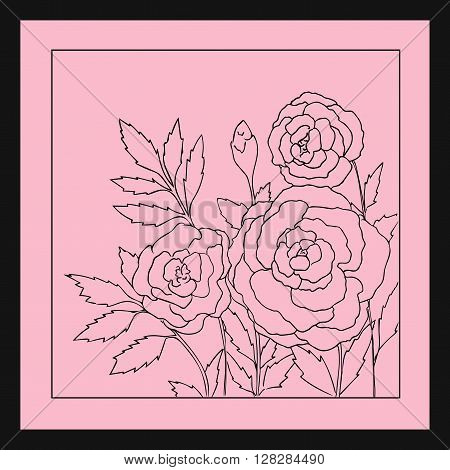 Beautiful roses isolated on soft pink background. Hand drawn vector illustration with flowers. Romantic retro floral card. Romantic delicate bouquet. Element for design. Contour lines and strokes.