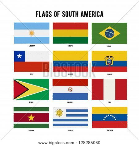 South America Continent Flag Pack. A hand drawn scratched flags with a grunge texture