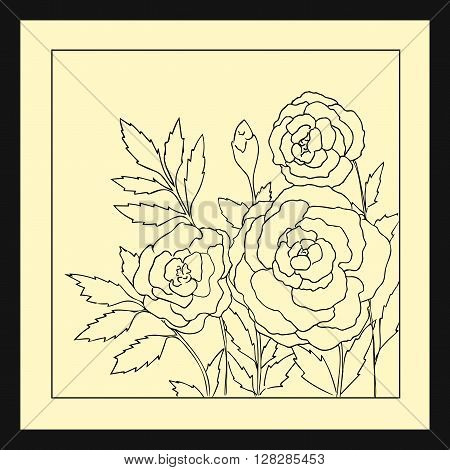 Beautiful roses isolated on light yellow background. Hand drawn vector illustration with flowers. Retro floral card. Romantic delicate bouquet. Element for design. Contour lines and strokes.