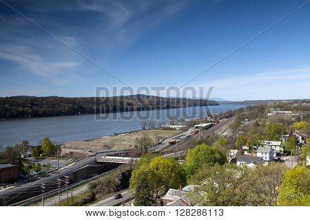 The railroads tracks along the Hudson River