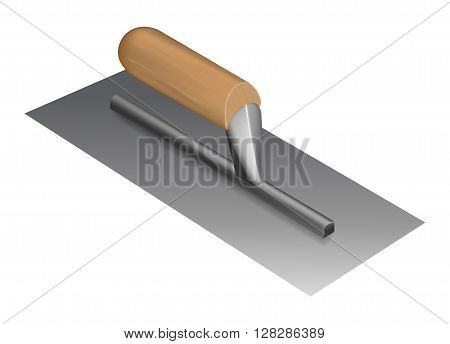 Photorealistic plastering trowel with wooden handle on white background