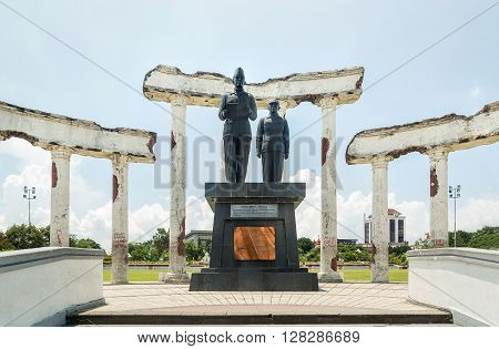 SURABAYA, INDONESIA - MARCH 25:Proclamation statue in ruins - National Monument in Surabaya Heroes Day East Java Indonesia