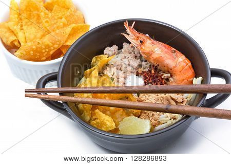 Spicy lemongrass flavored flat noodles with shrimp Asian foods