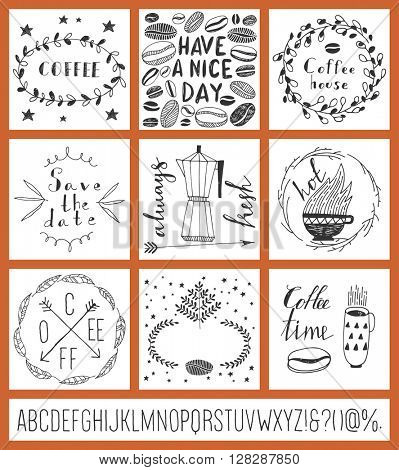 Set of positive cards. Coffee. Hand drawn style