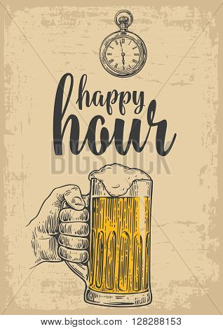 Male hand holding a beer glass. Vintage vector engraving illustration for label poster menu. Isolated on beige background. Happy hour.