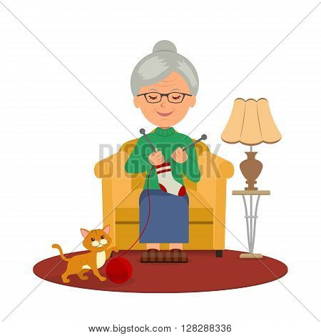 Knitting. Old female sitting in a cozy armchair knitting. The kitten plays with a ball of wool. Isolated vector illustration of a Granny knitting.