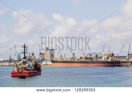 Old Cargo Vessel On Mooring
