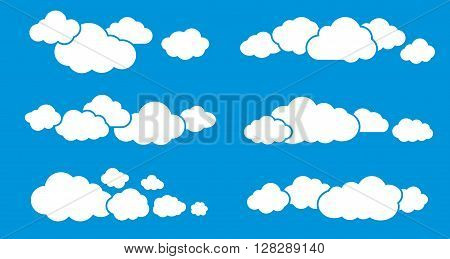 Clouds set. Cloud isolated on blue sky background. Cloud symbols. Cloud groups. Clouds flat icons. Collection of cloud pictograms. Vector icons of clouds. Cloud sihouettes. EPS8 vector illustration.