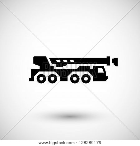 Heavy mobile crane icon isolated on grey. Vector illustration