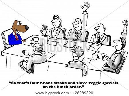 Business cartoon about selecting the lunch choices at the team meeting.