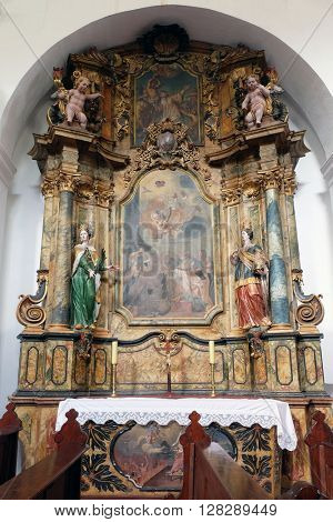 KOTARI, CROATIA - SEPTEMBER 16:Altar of Saint Joseph in the church of Saint Leonard of Noblac in Kotari, Croatia on September 16, 2015.