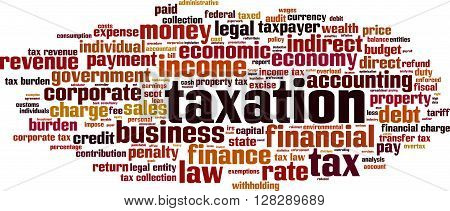 Taxation word cloud concept. Vector illustration on white