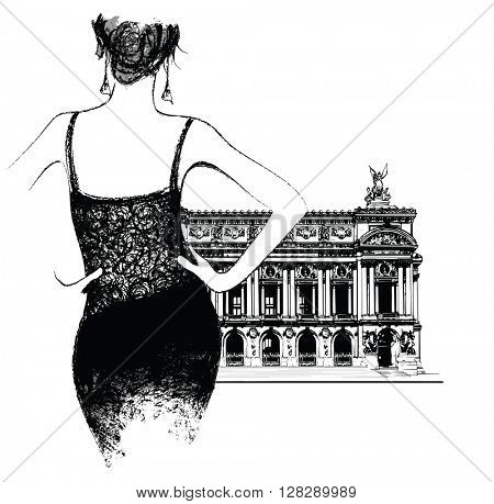 Young fashion model in front of Opera in Paris - vector illustration