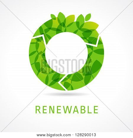 Letter O recycle energy of green leaves icon design template. O renewable green logo