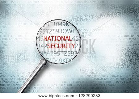 reading word national security on digital computer screen with a magnifying glass internet security