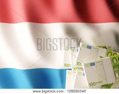 Euro banknote bundles on textile textured Netherlands flag. 3d rendering.
