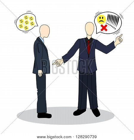 Speech etiquette in business. The quarrel between the colleagues. Business etiquette.