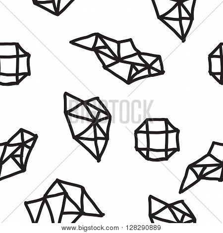 Vector seamless geometric doodle pattern. Abstract minimalist pattern with linear figure in black and white. Design background for fashion textile print, wrapping paper or web background
