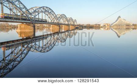 Railway bridge and New National Library building upon Daugava river