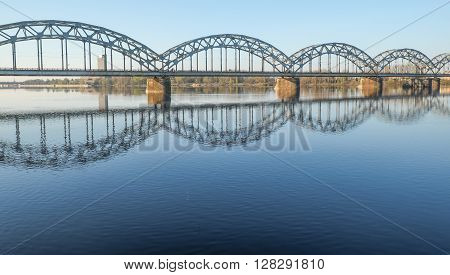 Railway bridge over Daugava West Dwina river in Riga
