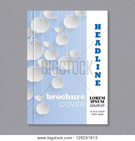 Modern vector template for brochure cover in A4 size. Paper apples with drop shadows hanging on strings. Blue pastel background. Vector illustration.