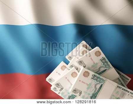 Russian rubles banknote bundles on textile textured Russia flag. 3d rendering.