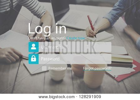 Log-in Account Apply Enter Join List Membership Concept
