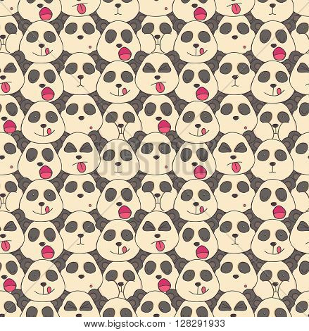 Seamless pattern of pandas muzzles of different emotions