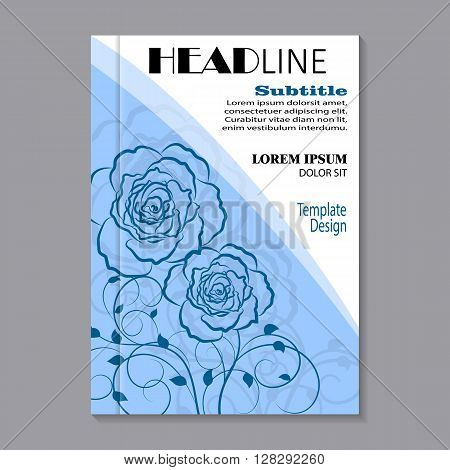Modern vector template for brochure cover in A4 size. Floral pattern with shadow on blue background.
