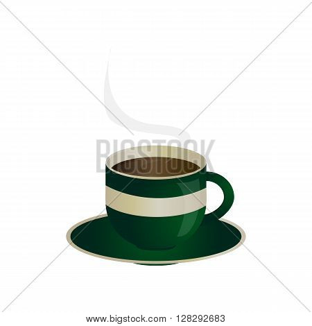 Green cup of fragrant coffee. Vector illustration.