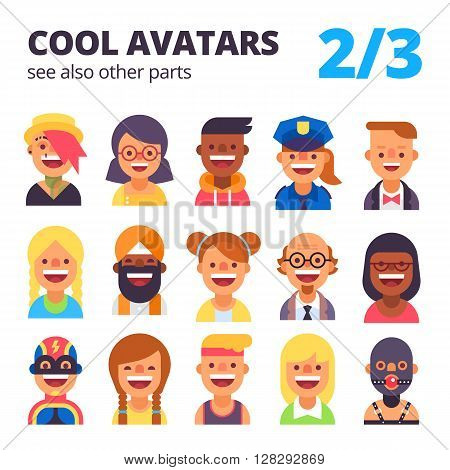 Set of cool avatars. Different skin tones, clothes and hair styles. Modern and simple flat cartoon style. Part 2 of 3. See also other parts.