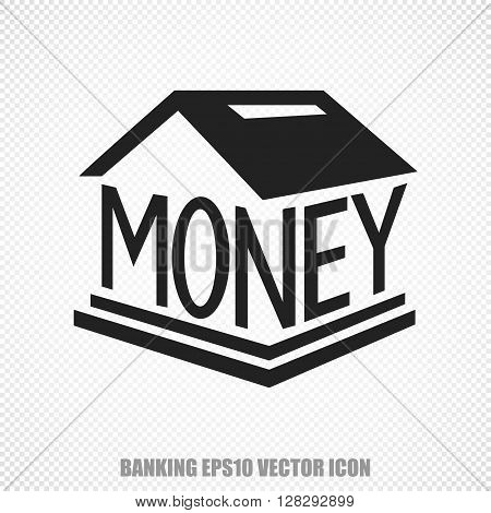 The universal vector icon on the banking theme: Black Money Box. Modern flat design. For mobile and web design. EPS 10.